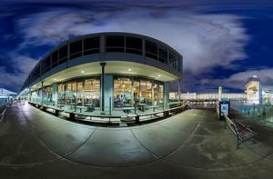 A fish-eye view of an outdoor night scene.