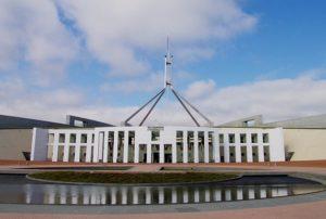 Parliament House, Canberra Australia facade.