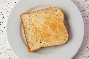 one slice of toast sits on a small white place.