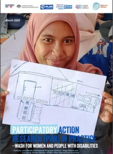 Front cover of the report showing a young woman holding up a floor plan drawing of a toilet.
