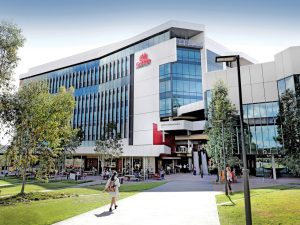A view of Griffith University building which is new and about seven storeys high.