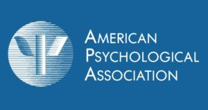 Logo of the APA - white text on a mid blue background.
