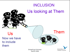 """Inclusion is one group looking at another group and thinking about """"Them"""". Inclusive Cities - more than a ramp."""