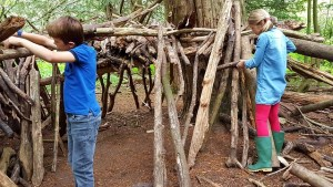 A boy and girl are in a forest and are assembling lots of fallen branches to make a hideout.
