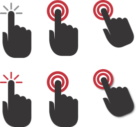 A graphic with six black hands with forefinger pointed each on a circular button.