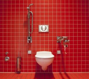 A bathroom with red tiled wall has a white wc pan and two drop down grab bars. It's indicative of an accessible bathroom.