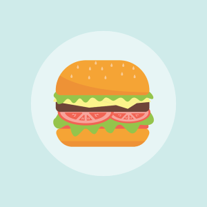An illustration of a burger on a pale blue background.