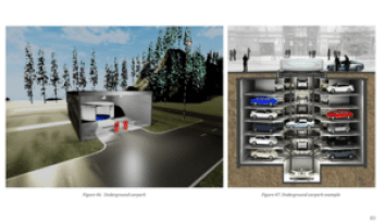 Drawings of a smart city car park showing cars parked vertically in stacks.