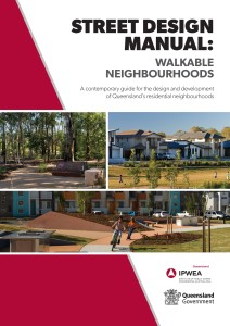Front cover of the guide showing a montage of pictures: a tree-lined pathway, a group of new homes, children on a cycles on a cycle path.