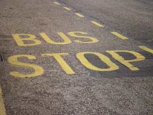 "The roadway is marked with the words ""bus stop"" in yellow lettering."