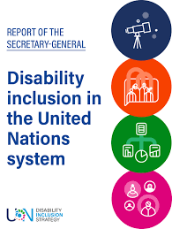 Front cover of the UN report with icons for the four areas of action.