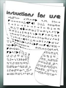 Instructions for use written in symbols which are hard to decipher.