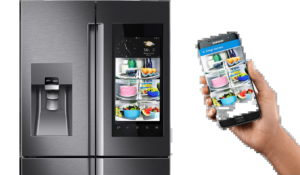 A Samsung fridge and a smartphone side by side. A view of what's inside the fridge is on the phone. No need to open the door.