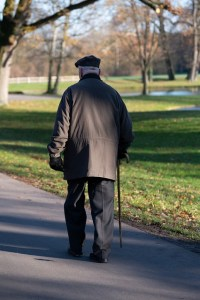 An older man with a walking cane walks along a path in a park. He is by himself.