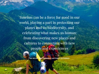 """Mountainous background with two walkers. A quote says """"Tourism can be a force for good in our world playing a part in protecting our planet and its biodiversity."""