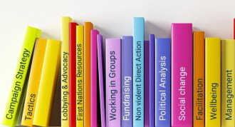 Brightly coloured books on a bookshelf with titles that represent social change.