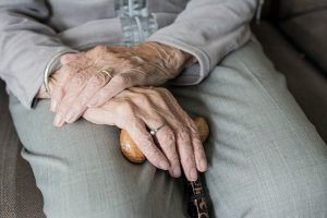 An older woman's pair of hands. A common ageist and patronising image of an older person.
