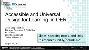 Title slide of the presentation UDL for education resources for online learning.
