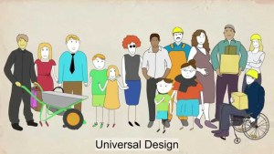 Drawings of 12 different people indicating population diversity. It is a screenshot of the video- the world comfortable for all