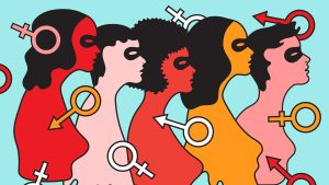 A colourful graphic of five women with male and female symbols over them.