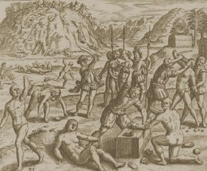 Columbus' soldiers chop the hands off of Indians who failed to meet the gold quota.