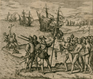 Columbus, as he first arrives, is received by the inhabitants and honored with the bestowing of many gifts.