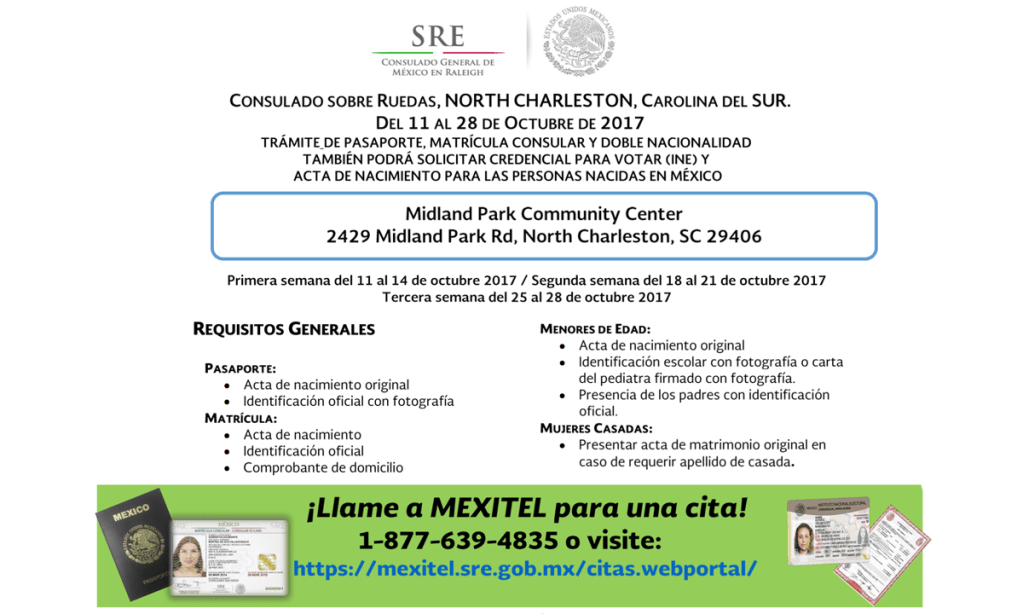 Consulado mexicano sobre ruedas en North Charleston del 11 de Oct. Al 28 de Octubre