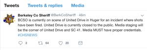 Autoridades se encuentran trabajando en una situación activa de disparos en Huger
