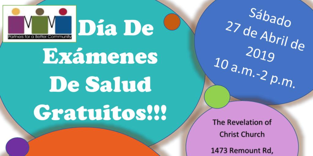 Feria de Salud GRATIS el 27 de abril  en Remount Rd. de 10am. a 2pm.