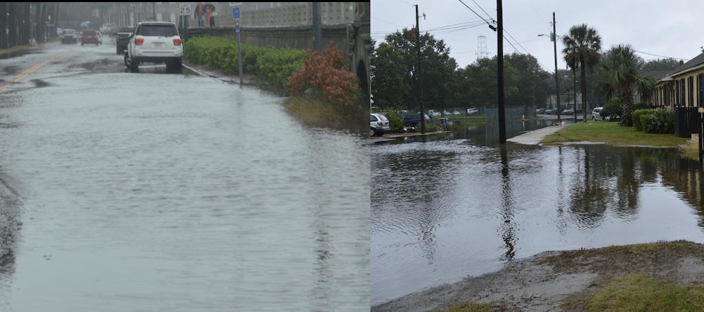 Algunas calles de Charleston están inundadas por las fuertes lluvias