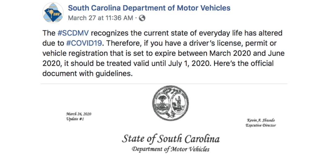 """DMVSC: """"Si su permiso o registro de vehículo se vence entre marzo y junio del 2020, será válido hasta el 1ro. de julio del 2020"""""""