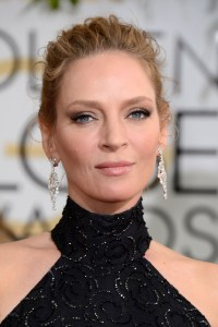 Uma Thurman arrives at the 71st annual Golden Globe Awards at the Beverly Hilton Hotel on Sunday, Jan. 12, 2014, in Beverly Hills, Calif. (Photo by Jordan Strauss/Invision/AP)