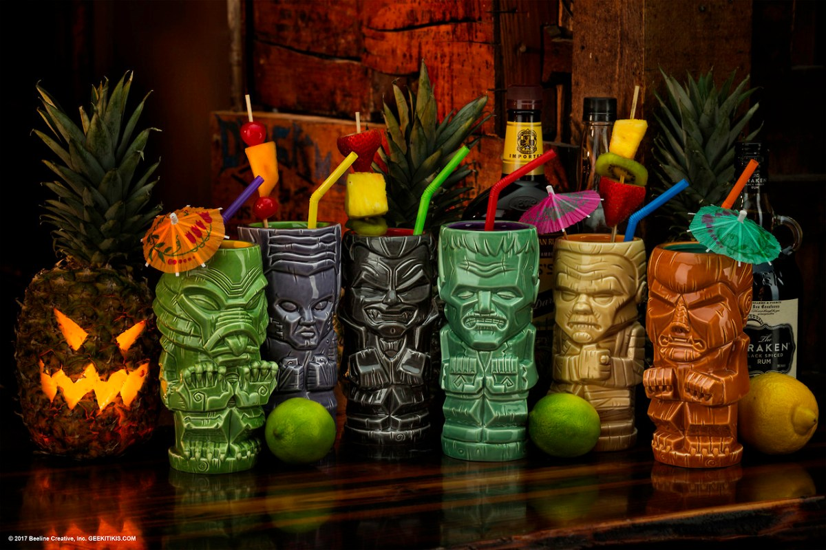 """A Wolfman Drinking A Pina Colada""... out of Beeline Creative's Geeki Tiki Mugs!"
