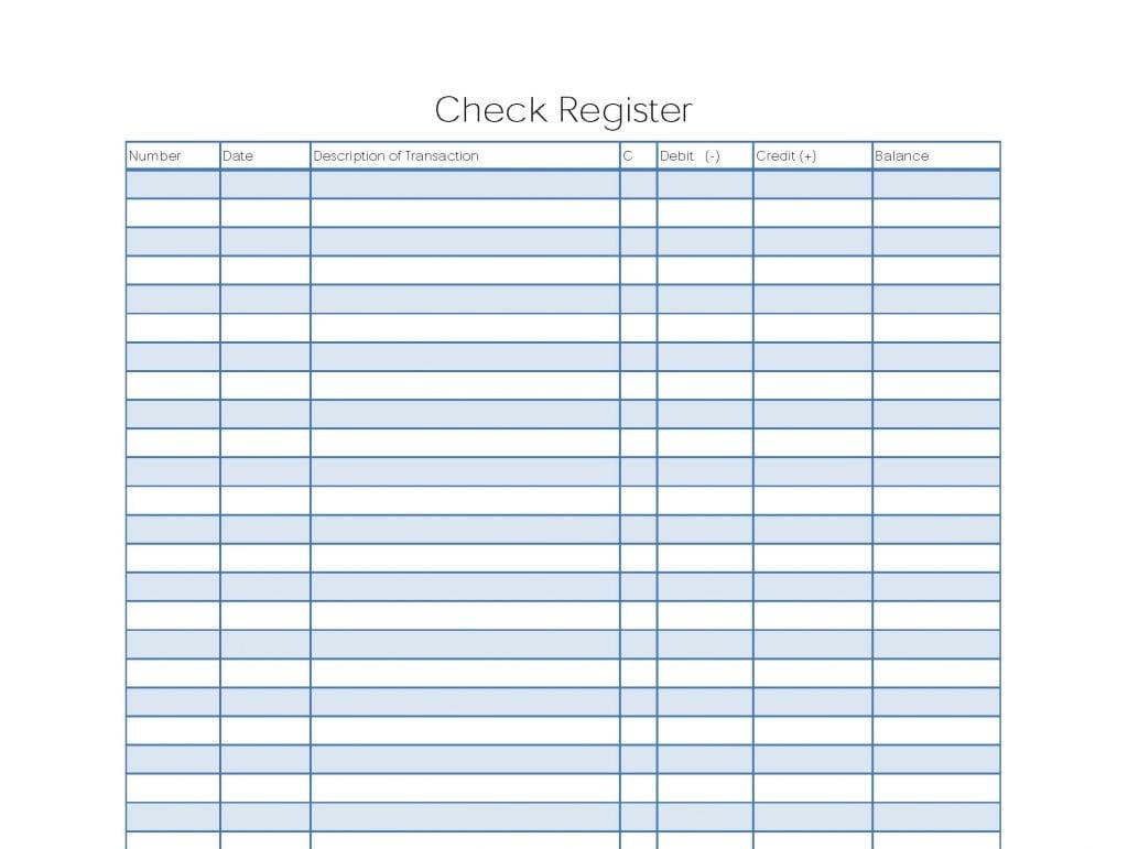 Blank Check Register Worksheet