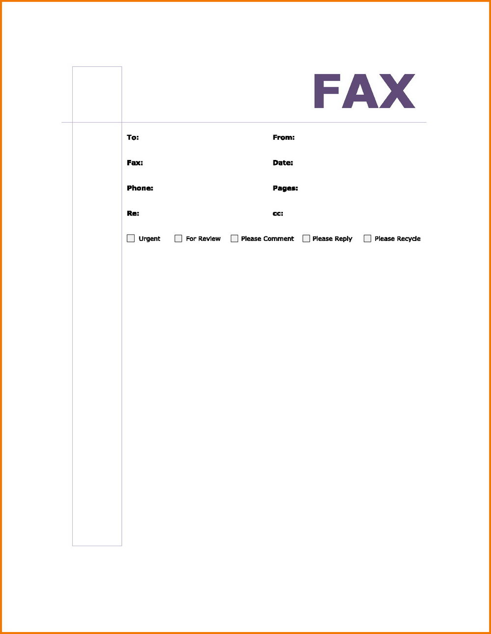 Blank Fax Cover Sheet Template Word