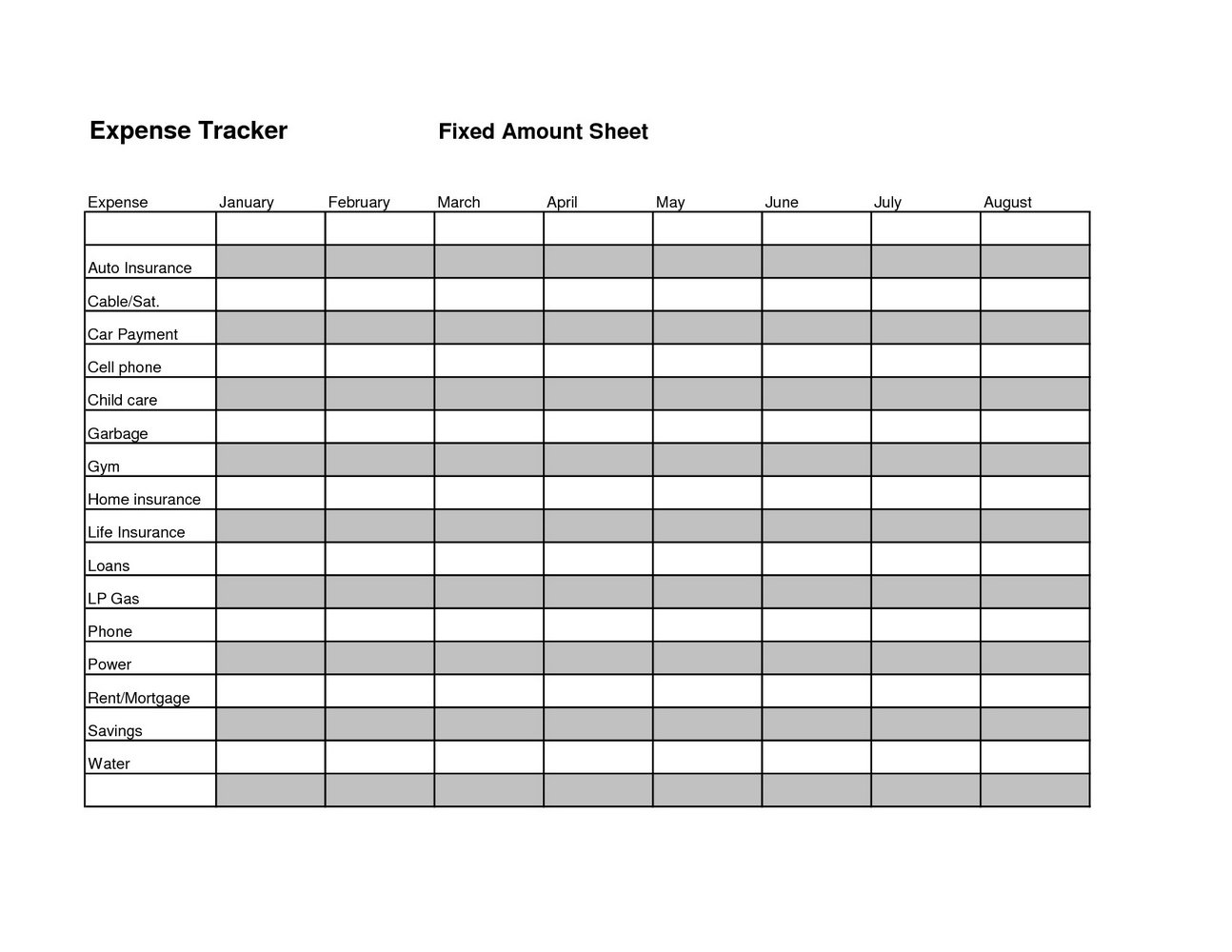 Budget And Expense Tracking Worksheet