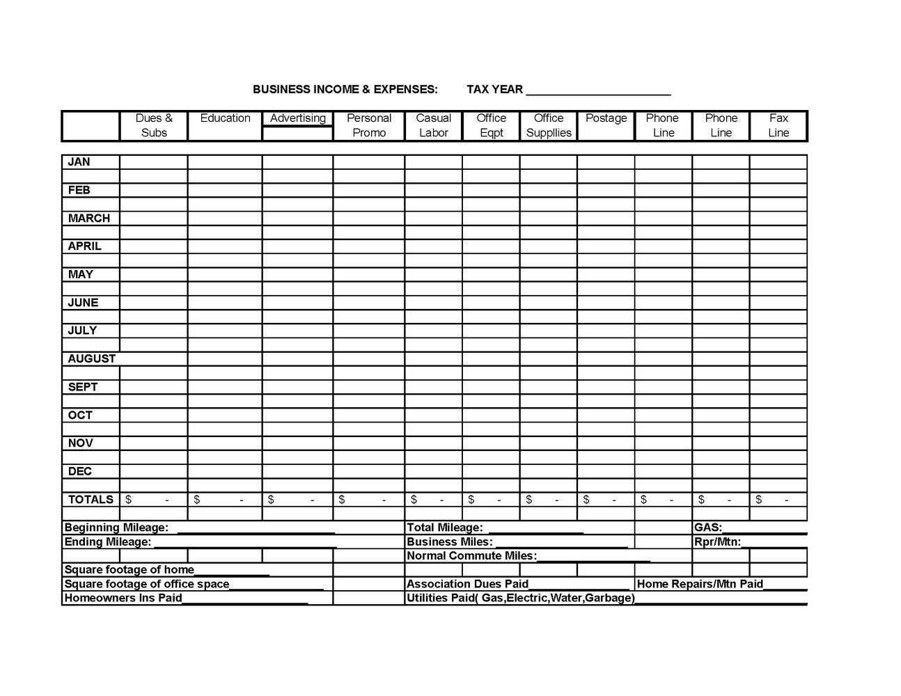 Business Tax Expense Worksheet