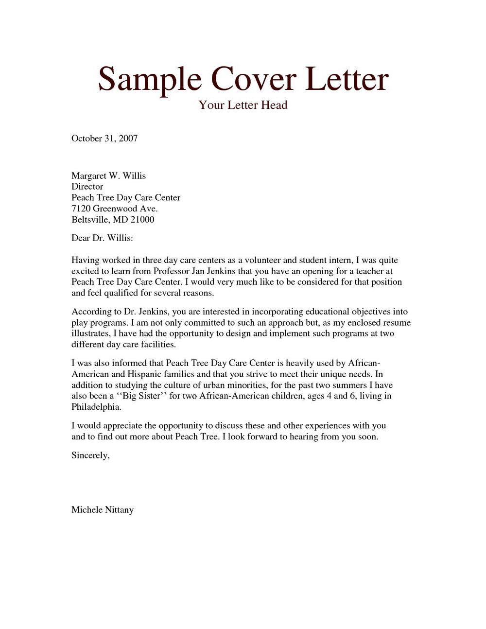 Cover Letter For Child Caregiver