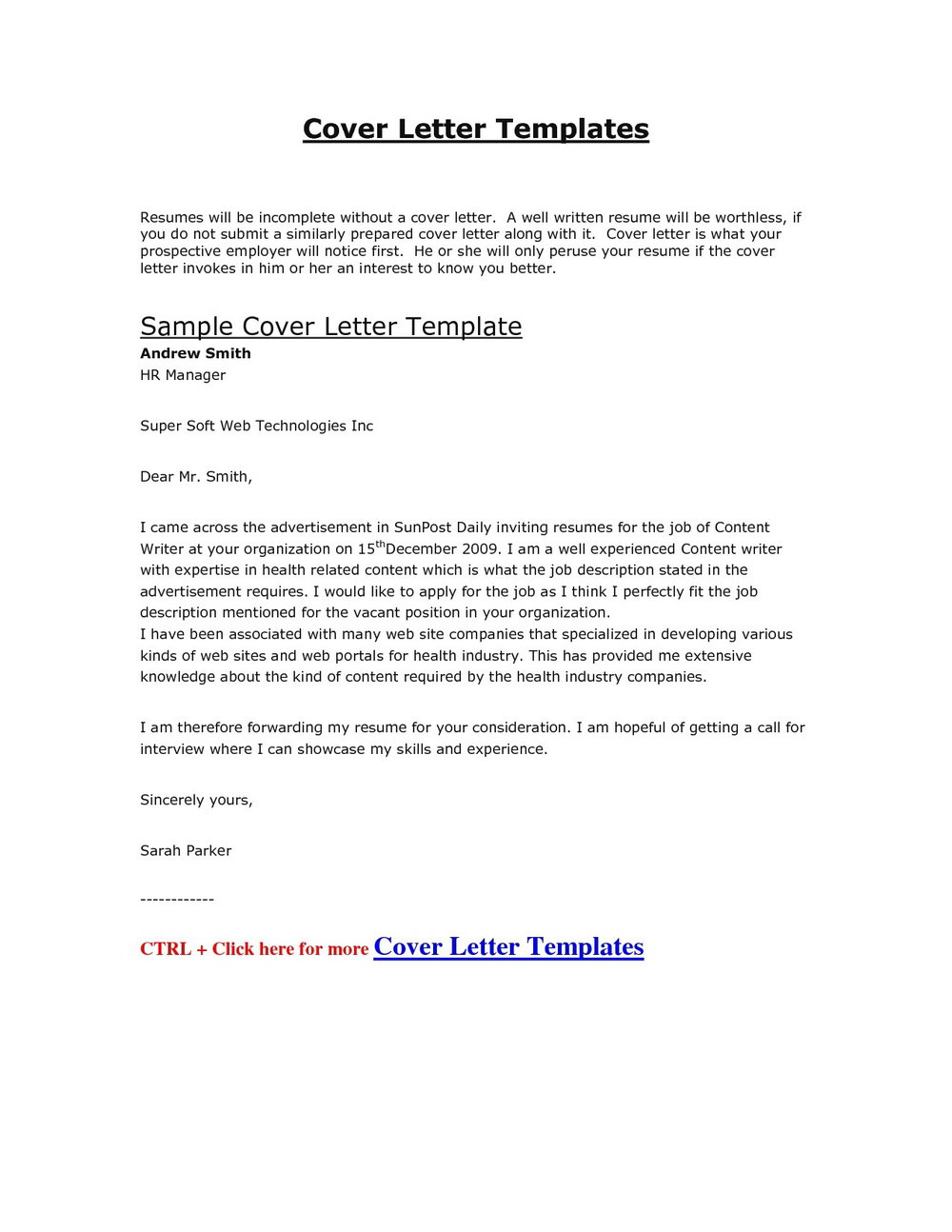 Cover Letter For Cv Templates Free