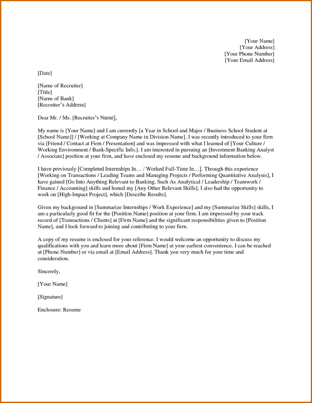 Cover Letter Sample For Financial Analyst Position