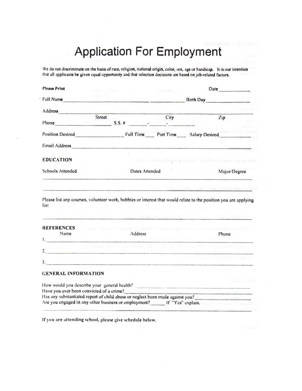 Daycare Job Application Form