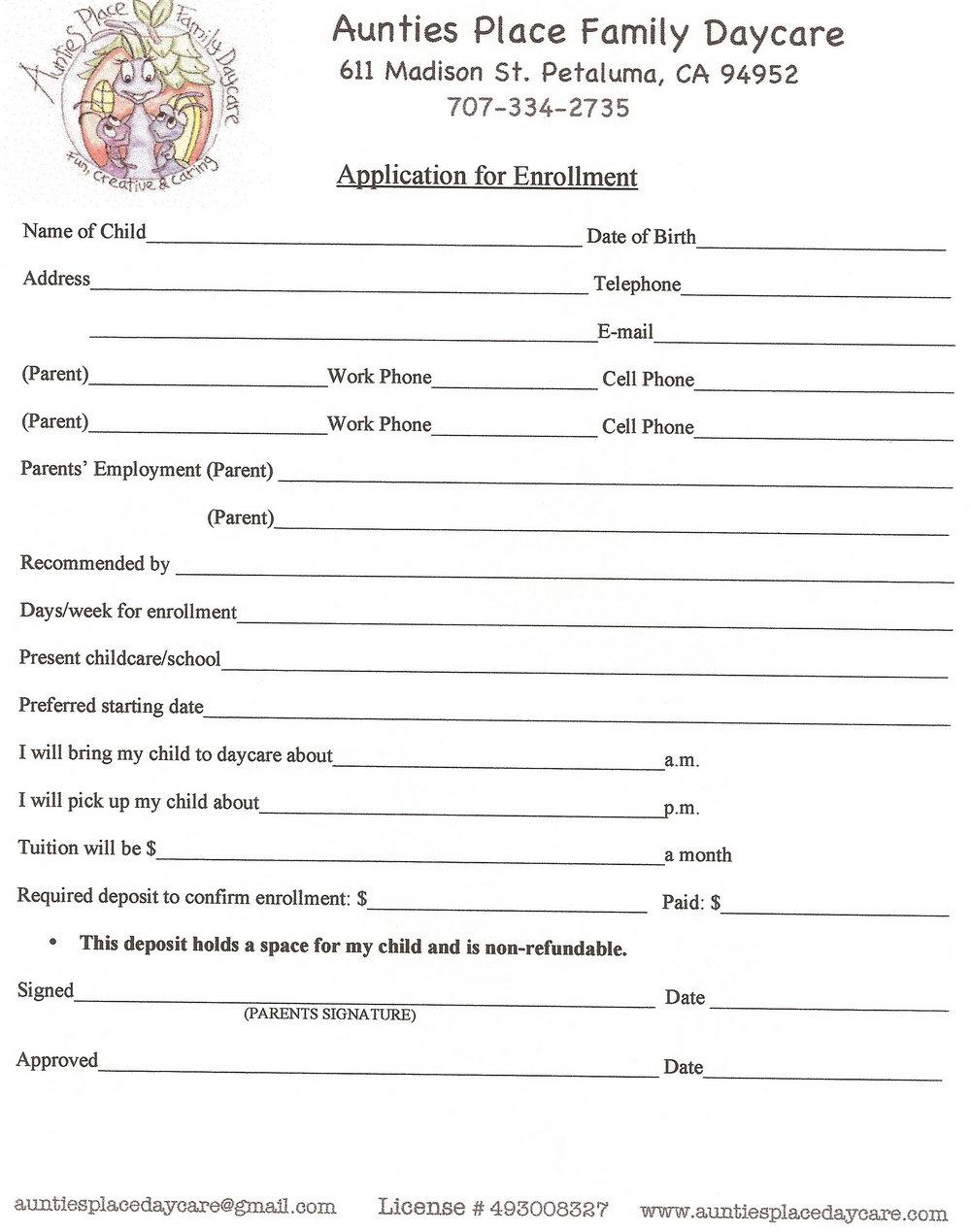 Daycare Job Application Sample