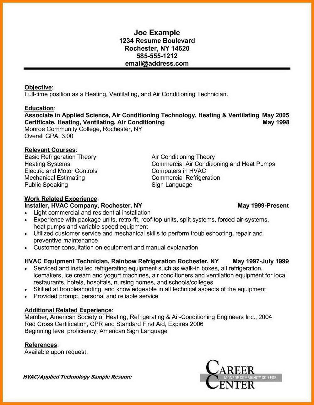 Example Cover Letter For Hvac Job