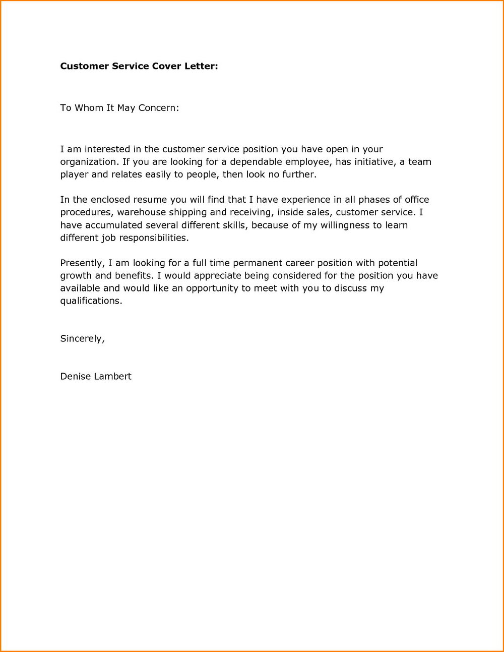 Examples Of Customer Service Resumes And Cover Letters