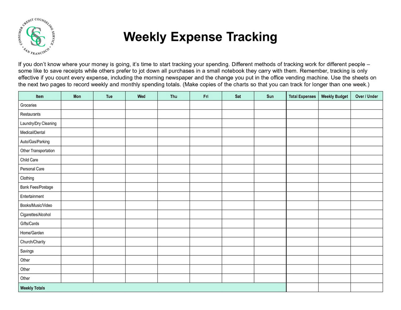 Expense Tracking Printable