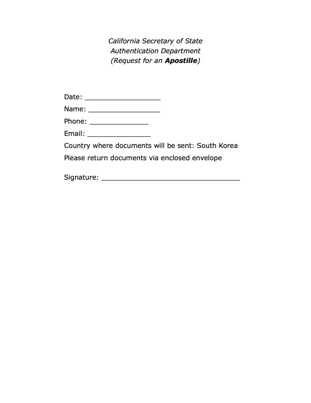 Florida Apostille Cover Letter Example