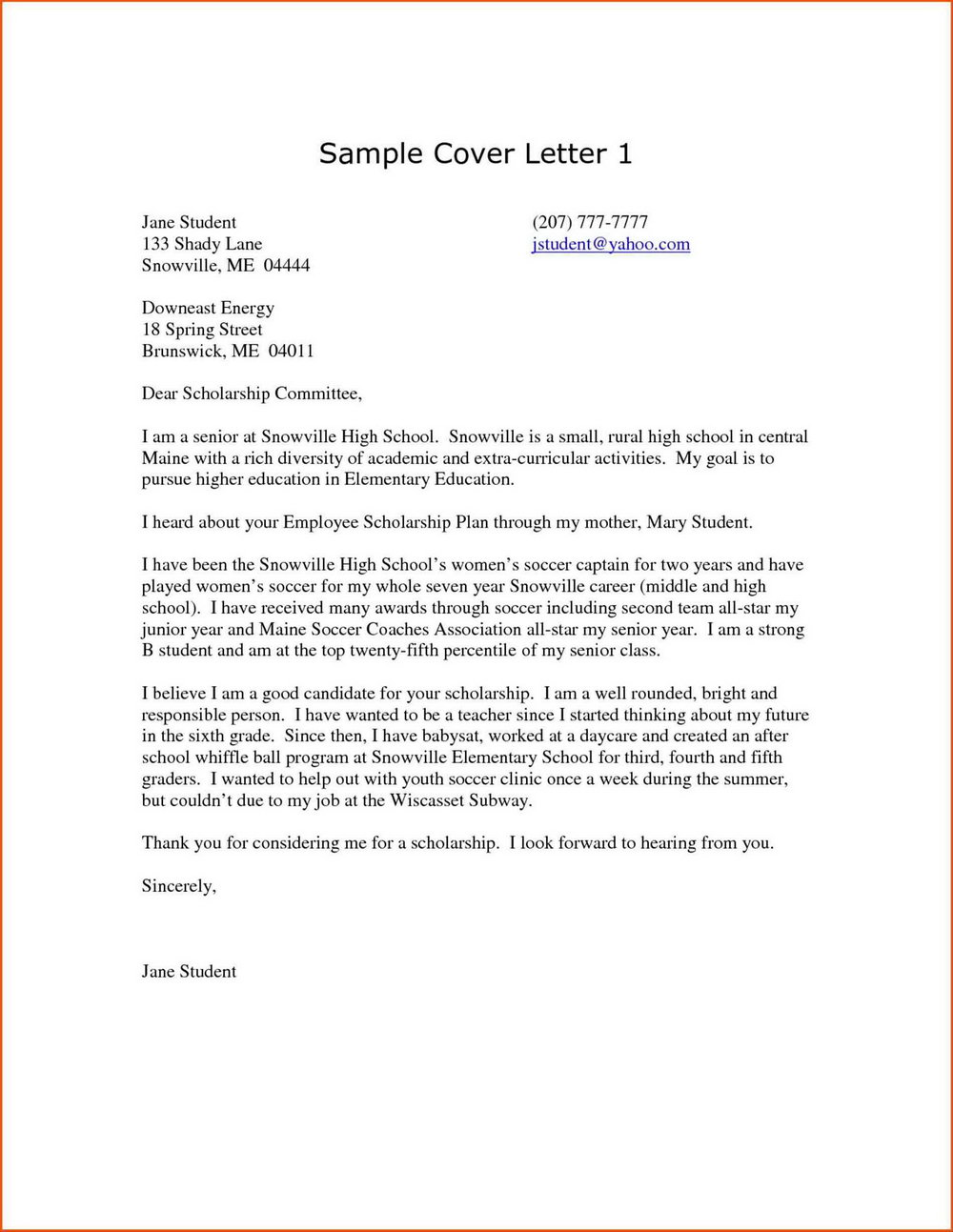 Free Cover Letter Samples For Highschool Students