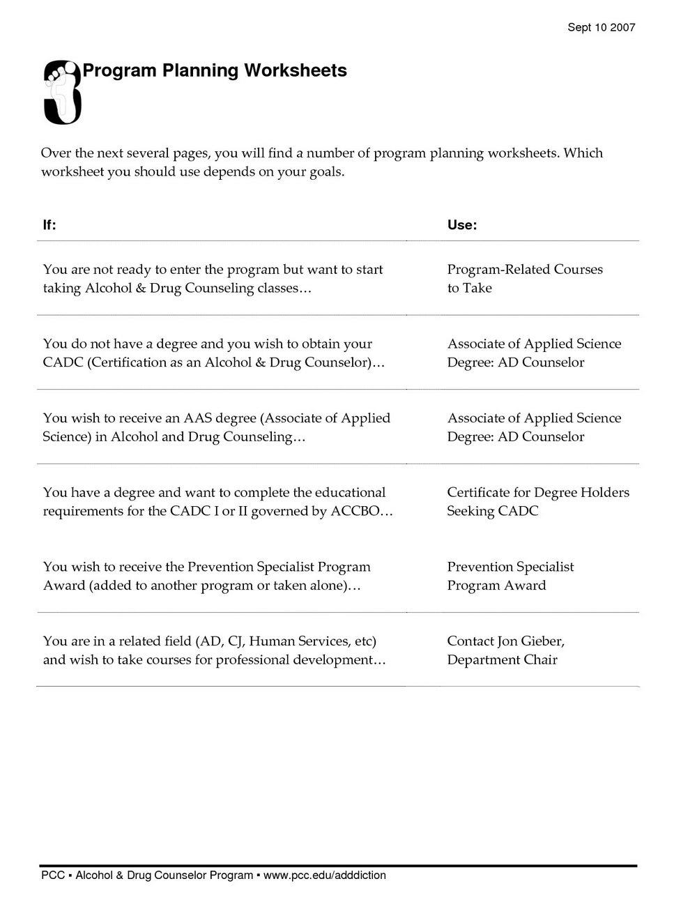 Free Drug Addiction Worksheets For Adults
