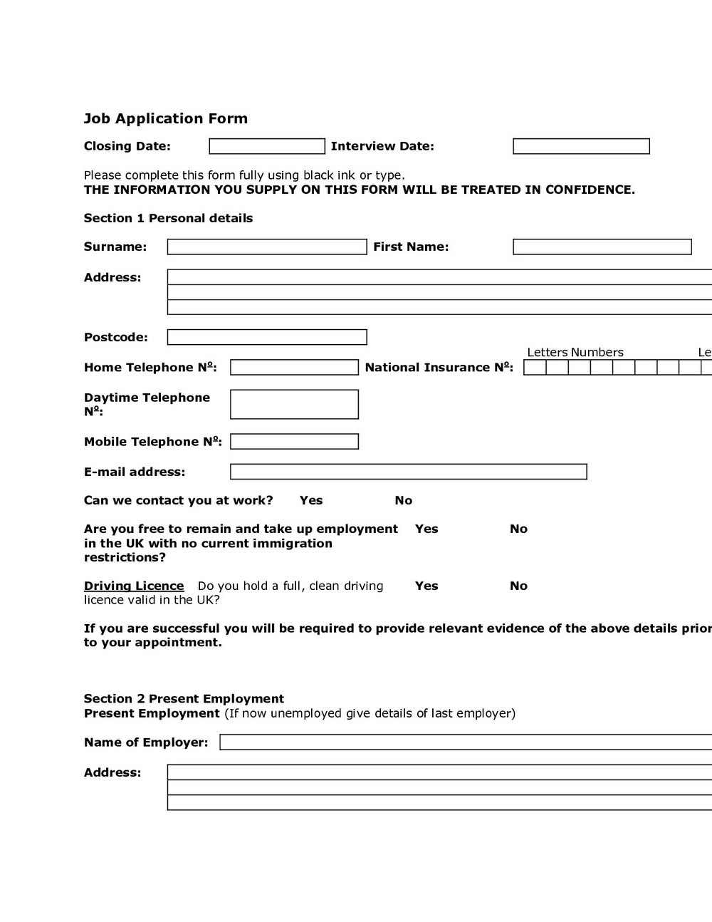 Free Generic Employment Application Form California