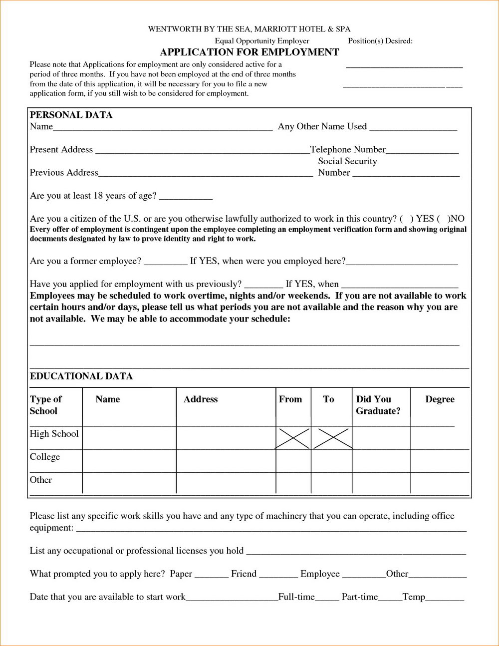 Free Generic Employment Application Form